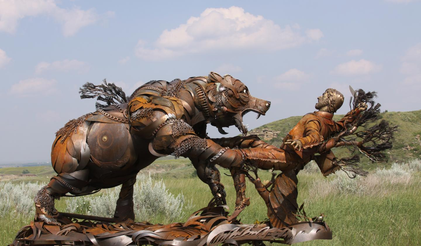 Hugh Glass sculpture by John Lopez
