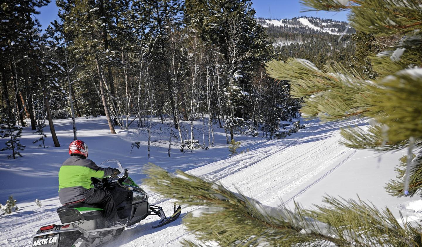 Snowmobiling in South Dakota's Black Hills