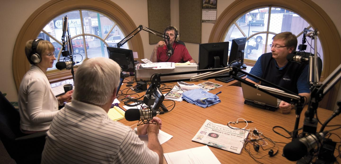 Watertown's radio station, broadcasting from the old post office, features radio veterans David J. Law, Jan Robson, Jim Aesoph and Bob Faehn.