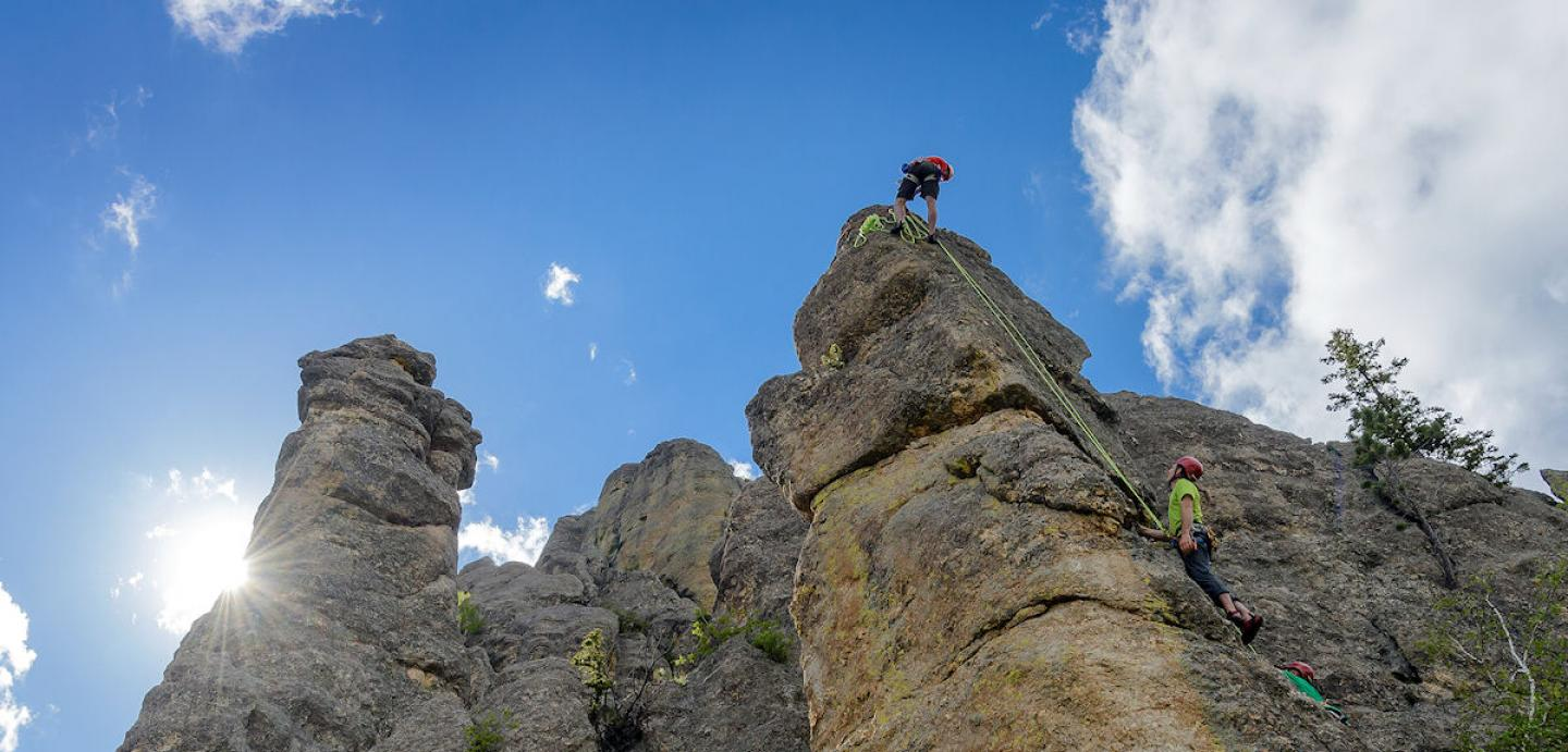 rock climbing the Needles, Custer State Park