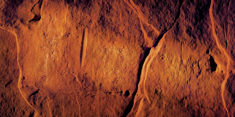 Southern Hills, battle scene, Battle of the Little Big Horn, petroglyphs