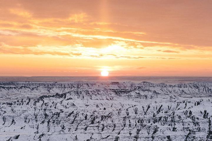 Badlands National Park winter sunset